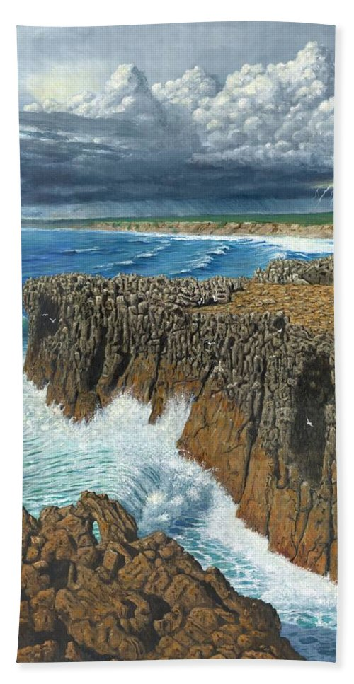 Landscapes Hand Towel featuring the painting Atlantic Breakers Pontal Portugal by Richard Harpum