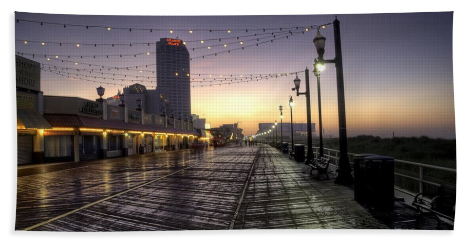 Atlantic Bath Sheet featuring the photograph Atlantic City Boardwalk In The Morning by Bill Cannon