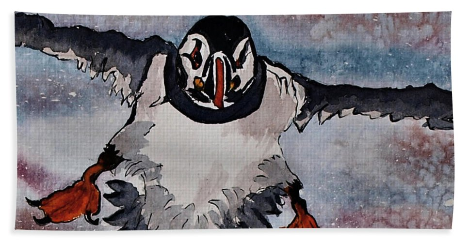 Puffin Bath Sheet featuring the painting Atlantic Puffin - Set 2 Of 3 by Corina Hogan