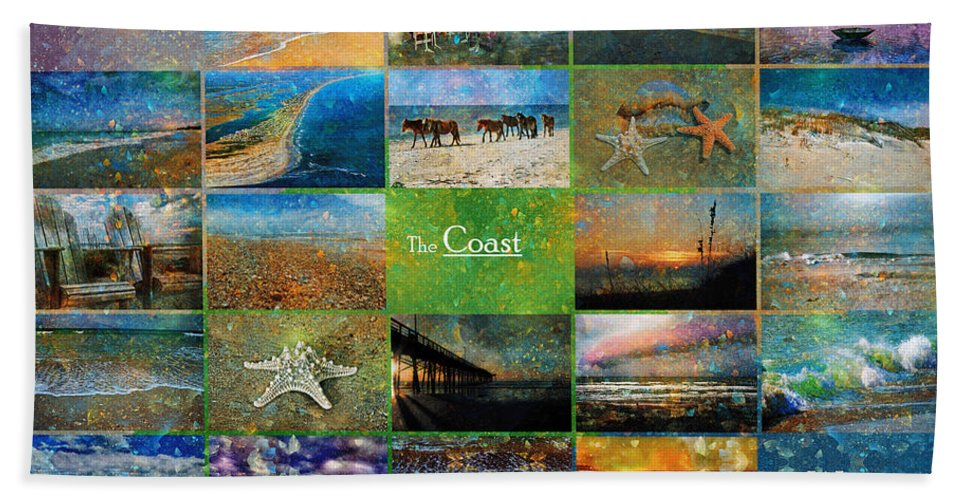 Topsail Bath Sheet featuring the mixed media Atmospheric Beaches  by Betsy Knapp