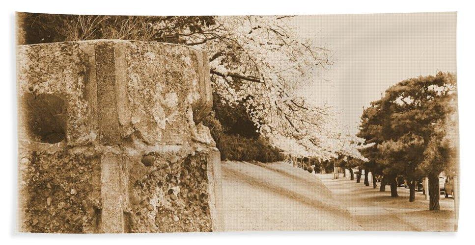 Cherry Hand Towel featuring the photograph Atsugi Pillbox Walk D by Jay Mann