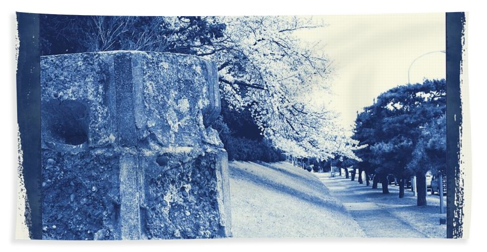Cherry Hand Towel featuring the photograph Atsugi Pillbox Walk E by Jay Mann