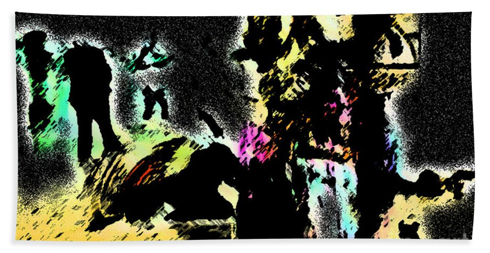 Abstract Bath Sheet featuring the painting Attack by Christopher Krieger
