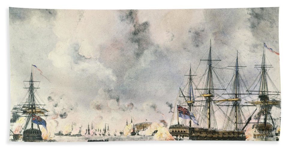 1777 Hand Towel featuring the photograph Attack On Fort Mifflin, 1777 by Granger