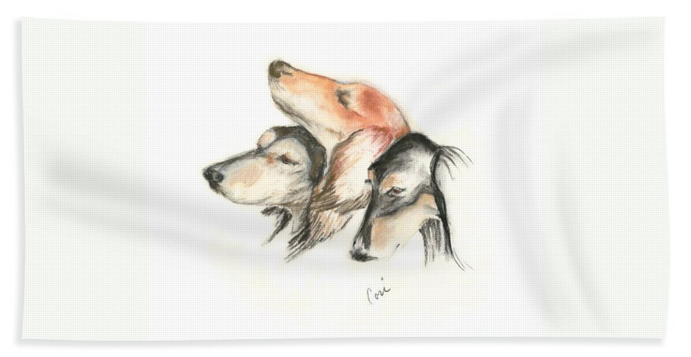 Dog Hand Towel featuring the drawing Attitude by Cori Solomon