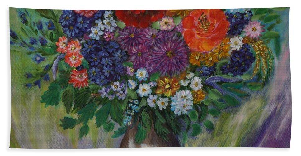 Autumn Bath Sheet featuring the painting Atumn Flowers by Tzvetanka Apostolova