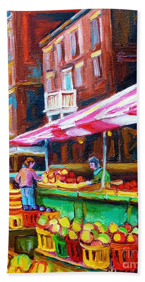Atwater Market Hand Towel featuring the painting Atwater Market  by Carole Spandau
