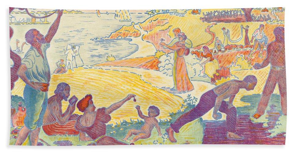 Au Temps D'harmonie Bath Sheet featuring the painting Au Temps Dharmonie by Paul Signac
