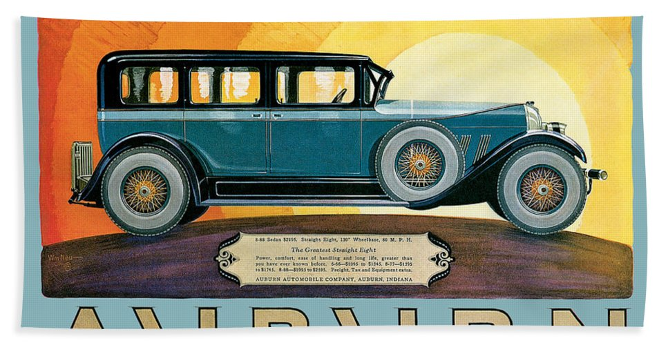 Vintage Automobile Ads And Posters Hand Towel featuring the photograph Auburn by Vintage Automobile Ads and Posters