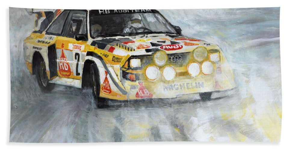 Acrilic On Canvas Bath Towel featuring the painting 1985 Audi Quattro S1 by Yuriy Shevchuk