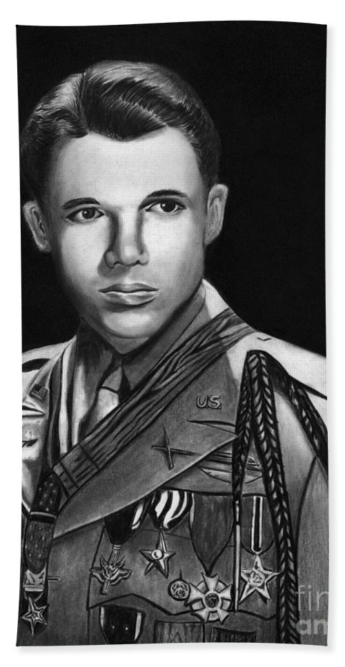 Audie Murphy Bath Sheet featuring the drawing Audie Murphy by Peter Piatt
