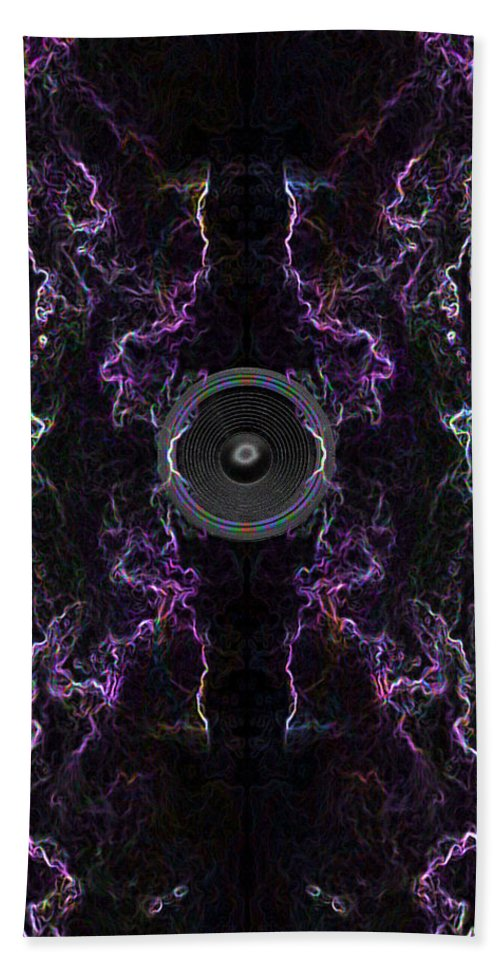Festival Hand Towel featuring the digital art Audio Purple Neon by Steve Ball
