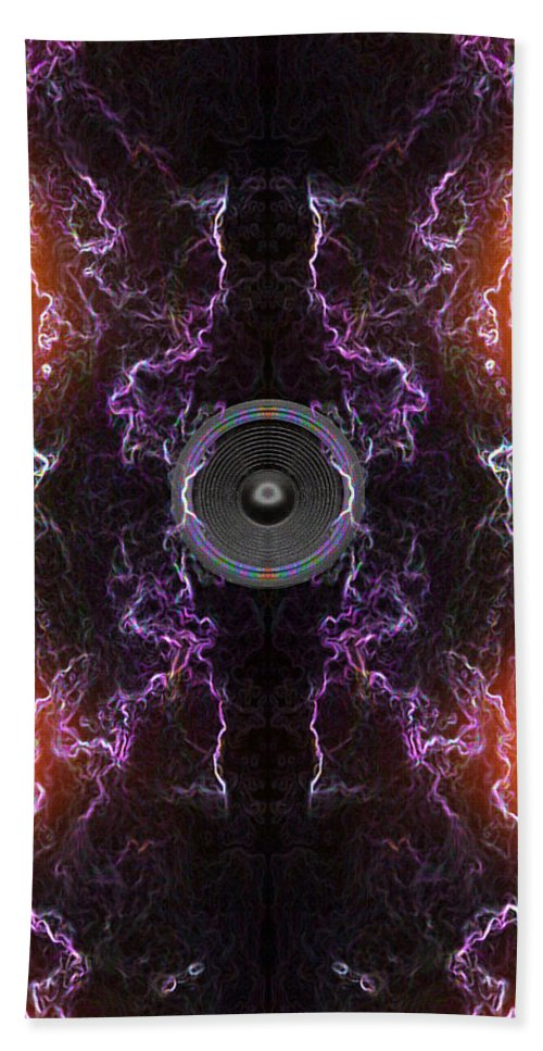 Festival Hand Towel featuring the digital art Audio Purple Orange by Steve Ball
