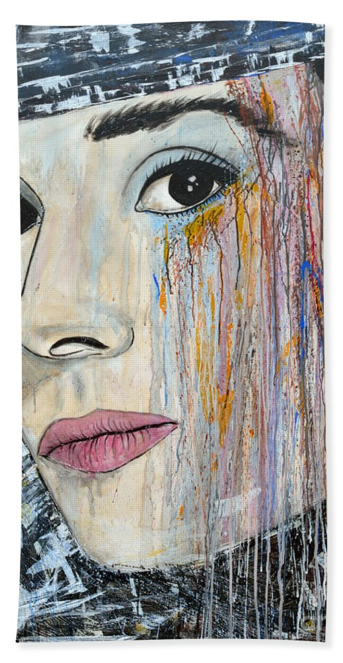 Abstract Painting Hand Towel featuring the painting Audrey Hepburn-abstract by Ismeta Gruenwald