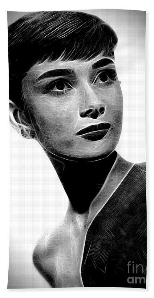 Audrey Hepburn Bath Sheet featuring the photograph Audrey Hepburn - Black And White by Doc Braham