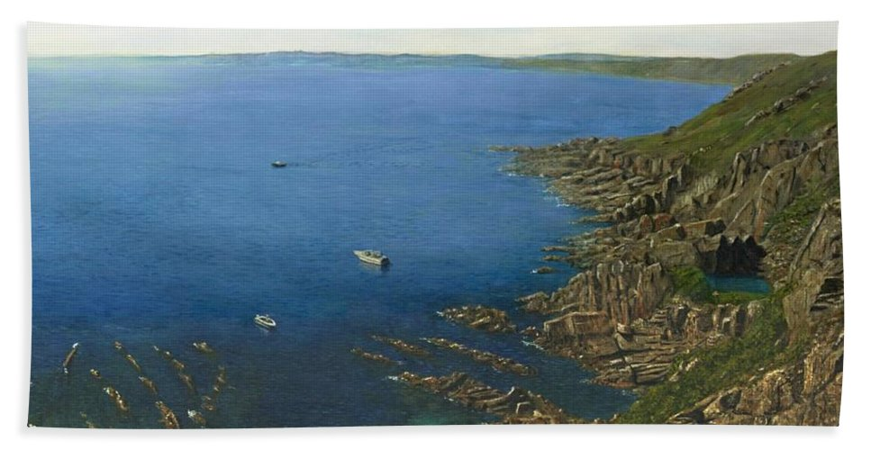 Landscape Hand Towel featuring the painting August Afternoon At Whitsand Bay Cornwall by Richard Harpum