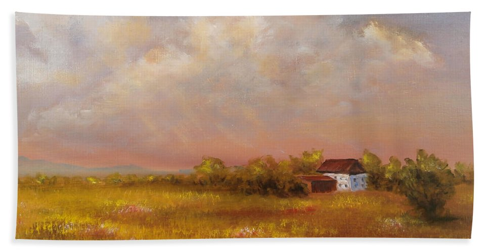 Luczay Hand Towel featuring the painting August Afternoon Pa by Katalin Luczay