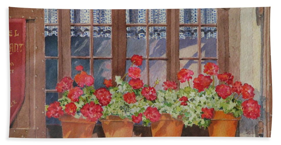Watercolor Bath Towel featuring the painting August At The Auberge by Mary Ellen Mueller Legault