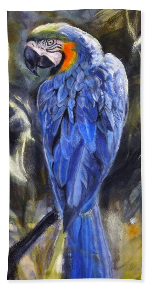 Blue And Yellow Macaw Hand Towel featuring the pastel Aura by Pamela Bergen