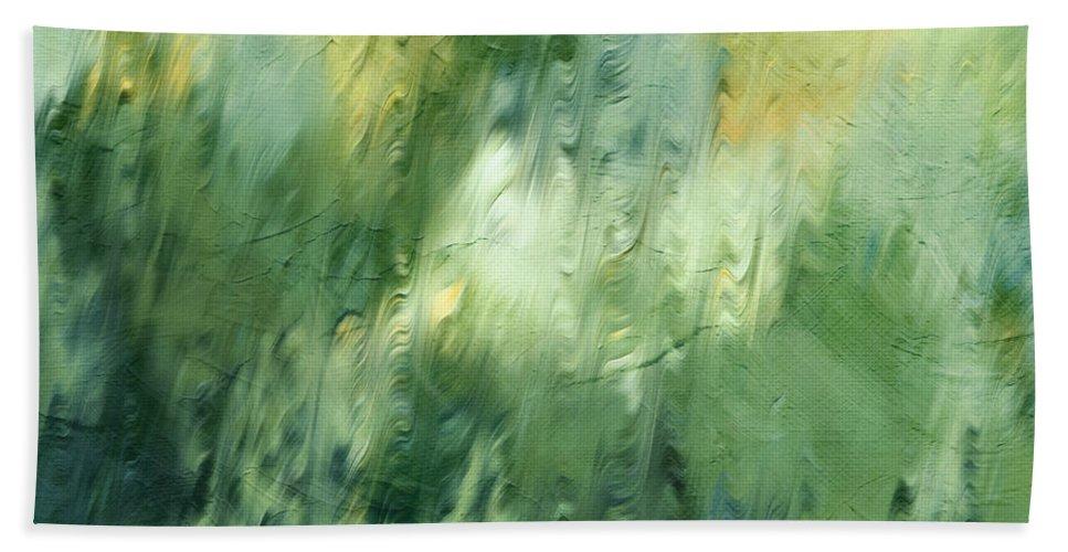 Aurora Borealis Hand Towel featuring the painting Aurora Borealis Abstract by Georgiana Romanovna