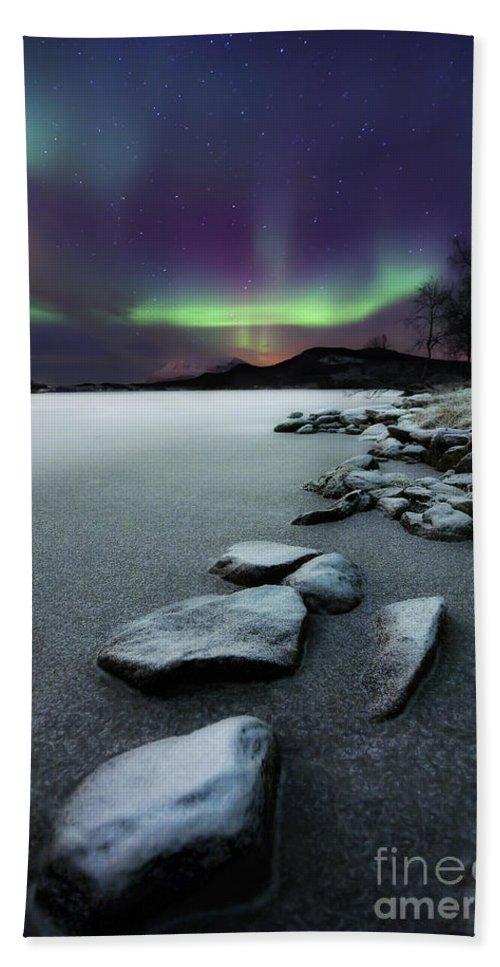 Aurora Borealis Bath Towel featuring the photograph Aurora Borealis Over Sandvannet Lake by Arild Heitmann