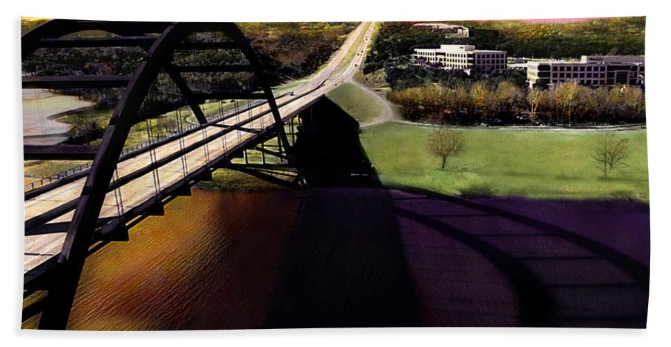 Austin Hand Towel featuring the photograph Austin 360 Bridge by Marilyn Hunt