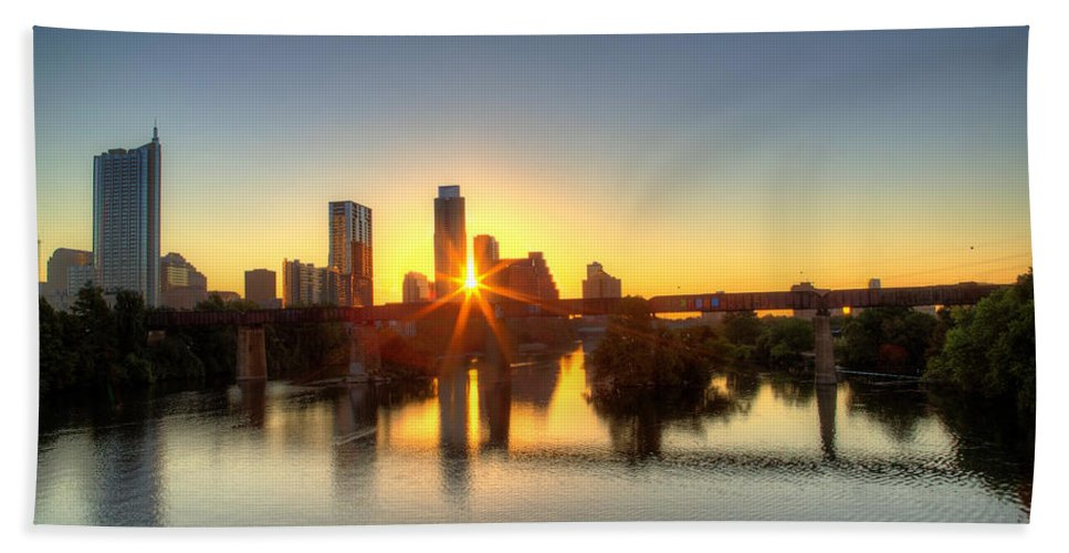 Austin Bath Sheet featuring the photograph Austin Sunrise by Dave Files