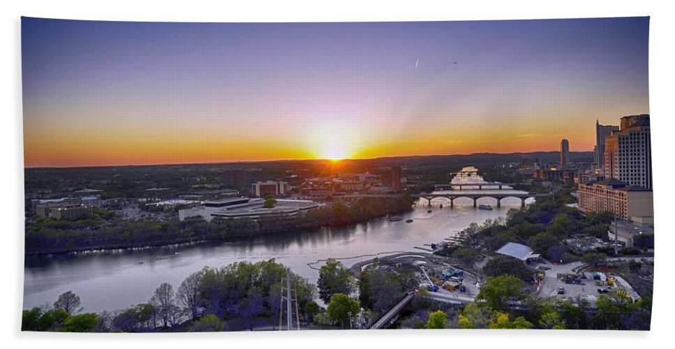 Austin Photograph Hand Towel featuring the photograph Austin Texas Sunset Hour by Kristina Deane