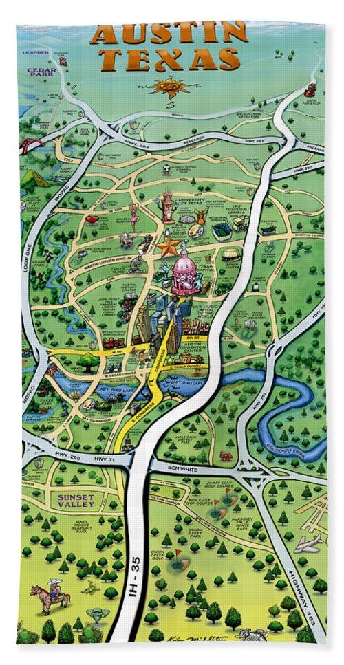 Austin Bath Sheet featuring the digital art Austin Tx Cartoon Map by Kevin Middleton