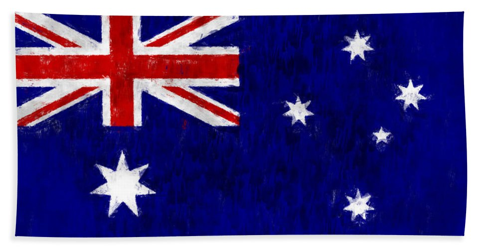 Australia Hand Towel featuring the digital art Australia Flag by World Art Prints And Designs