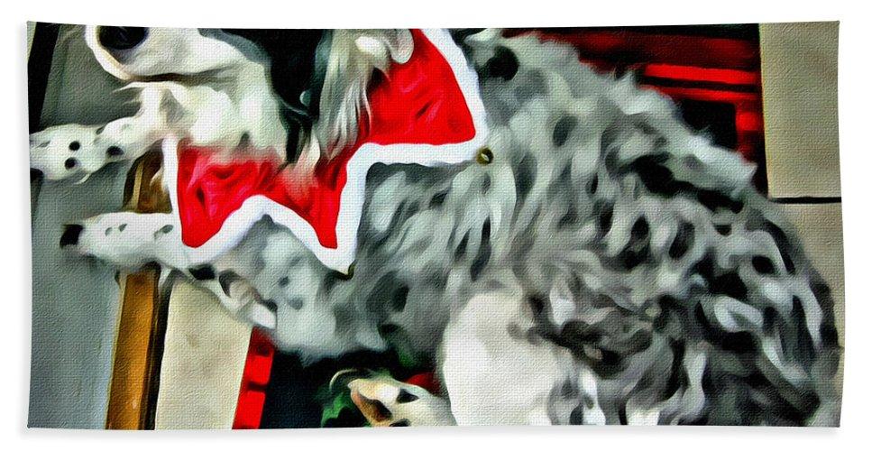 Australian Shepherd Hand Towel featuring the photograph Australian Shepherd Christmas Dog by Rebecca Korpita