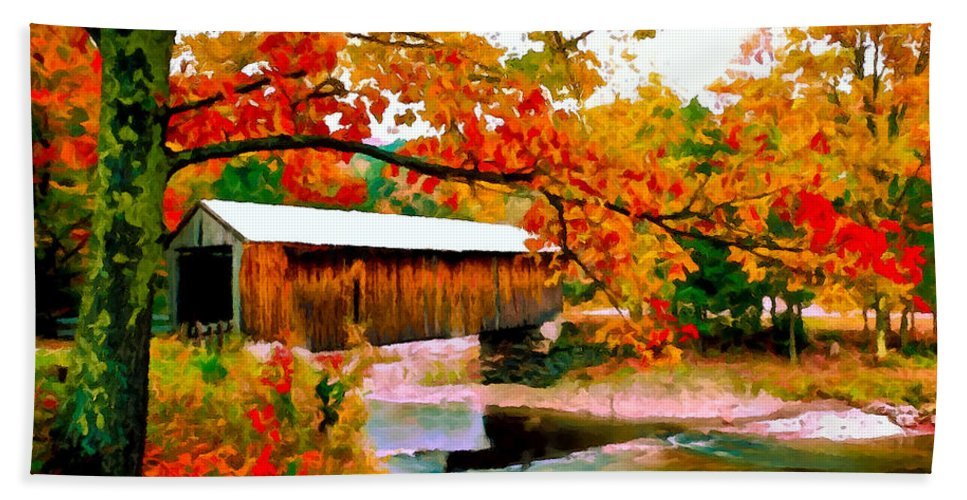 Authentic Hand Towel featuring the painting Authentic Covered Bridge Vt by Bob and Nadine Johnston