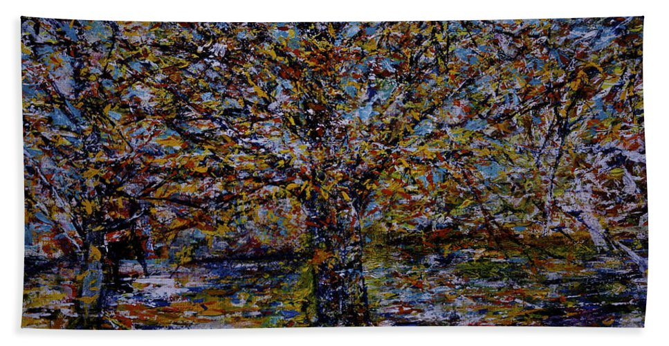 Jack Diamond Bath Sheet featuring the painting Autum In Central Park by Jack Diamond