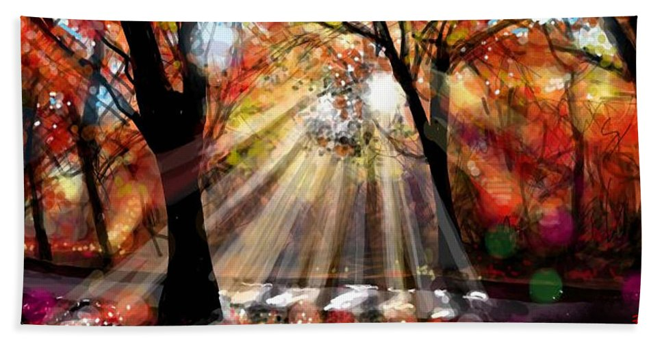 Painting Hand Towel featuring the painting Autumn 4 by Angie Braun