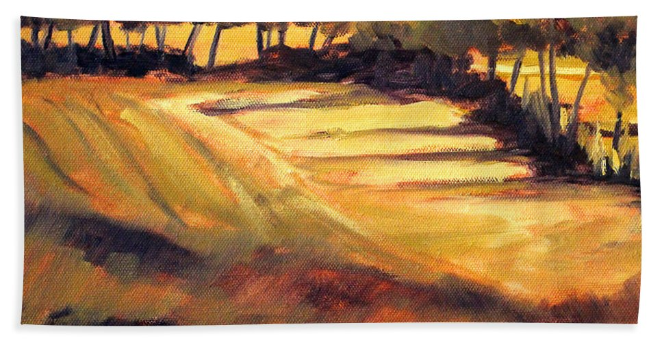 Autumn Bath Sheet featuring the painting Autumn Abstract by Nancy Merkle