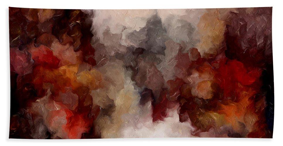 Abstract Bath Sheet featuring the mixed media Autumn Abstract by Georgiana Romanovna