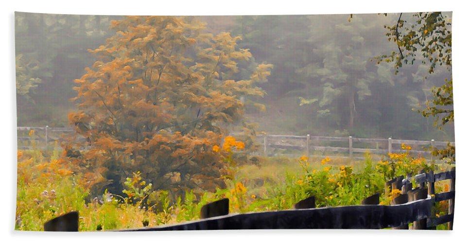 Autumn Bath Sheet featuring the photograph Autumn Along The Fence by Kerri Farley