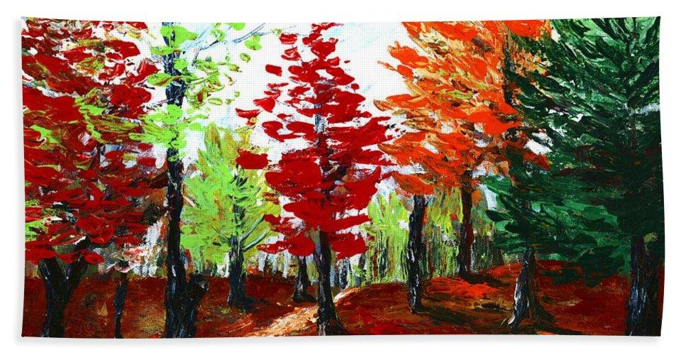 Malakhova Bath Sheet featuring the painting Autumn by Anastasiya Malakhova