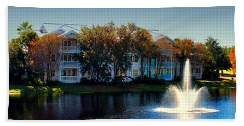 Ablaze Bath Sheet featuring the photograph Autumn At Old Key West Resort Panorama Walt Disney World by Thomas Woolworth