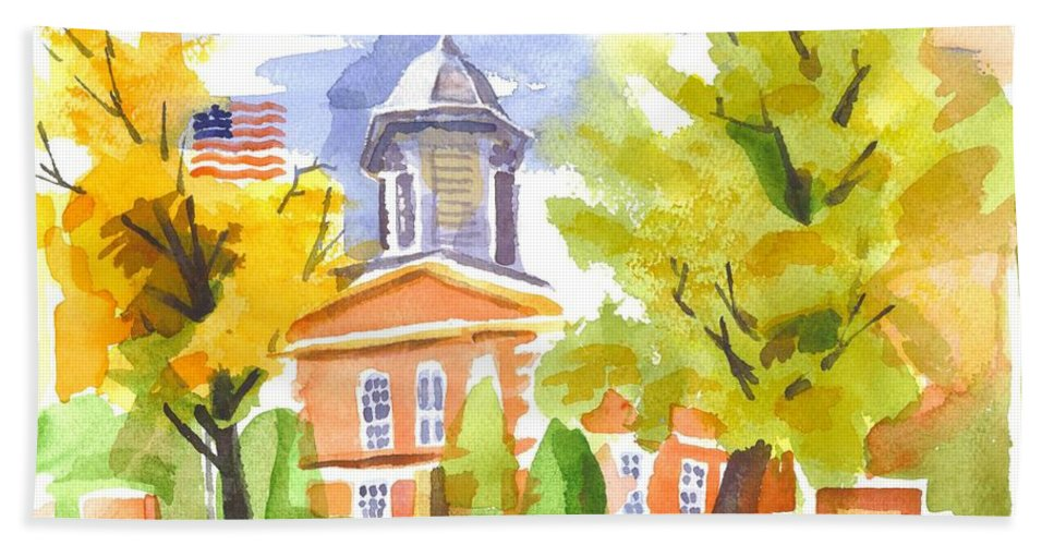 Autumn At The Courthouse Hand Towel featuring the painting Autumn At The Courthouse by Kip DeVore