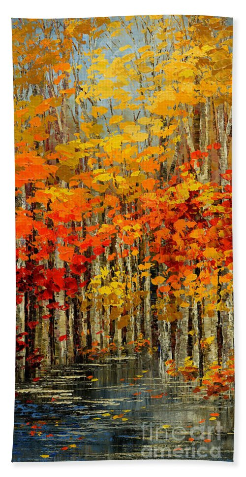 Forest Hand Towel featuring the painting Autumn Banners by Tatiana Iliina