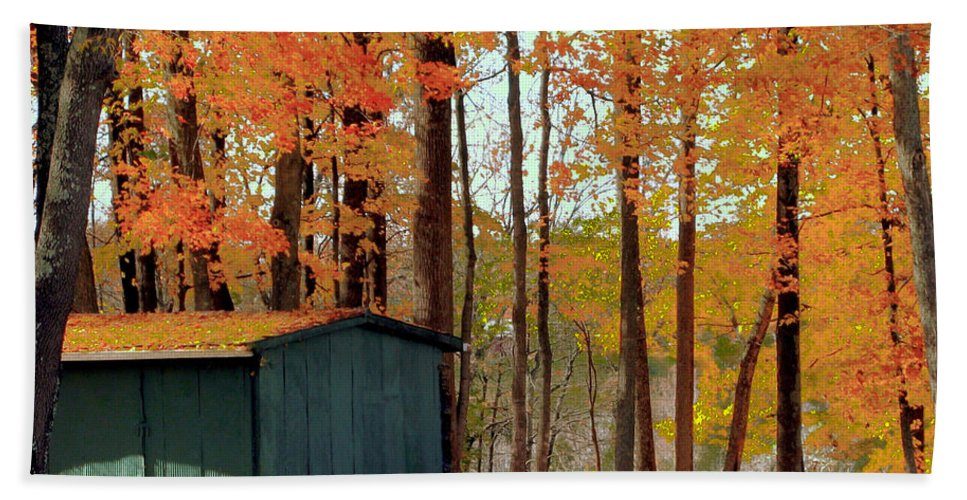 Barn Hand Towel featuring the photograph Autumn Barn by Catherine Balfe