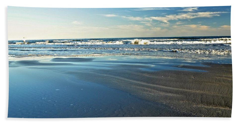 Beach Hand Towel featuring the photograph Relaxing Autumn Beach by Kristina Deane