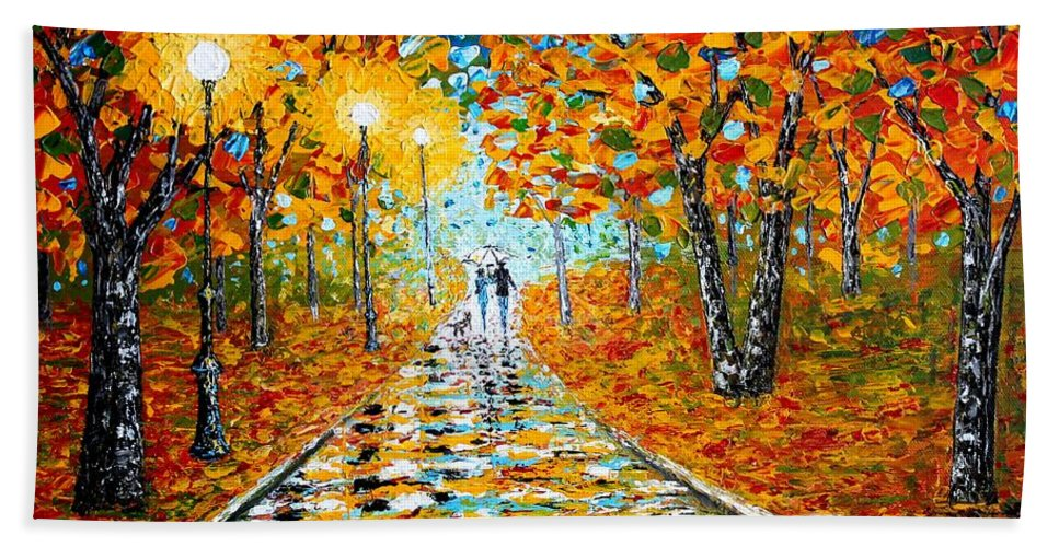 Impressionism Autumn Hand Towel featuring the painting Autumn Beauty Original Palette Knife Painting by Georgeta Blanaru