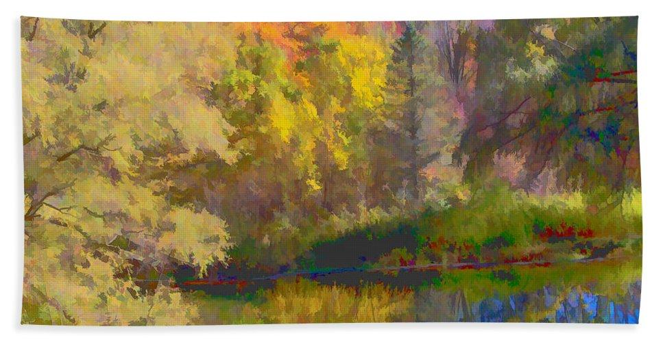 Autumn Bath Sheet featuring the photograph Autumn Beside The Pond by Don Schwartz
