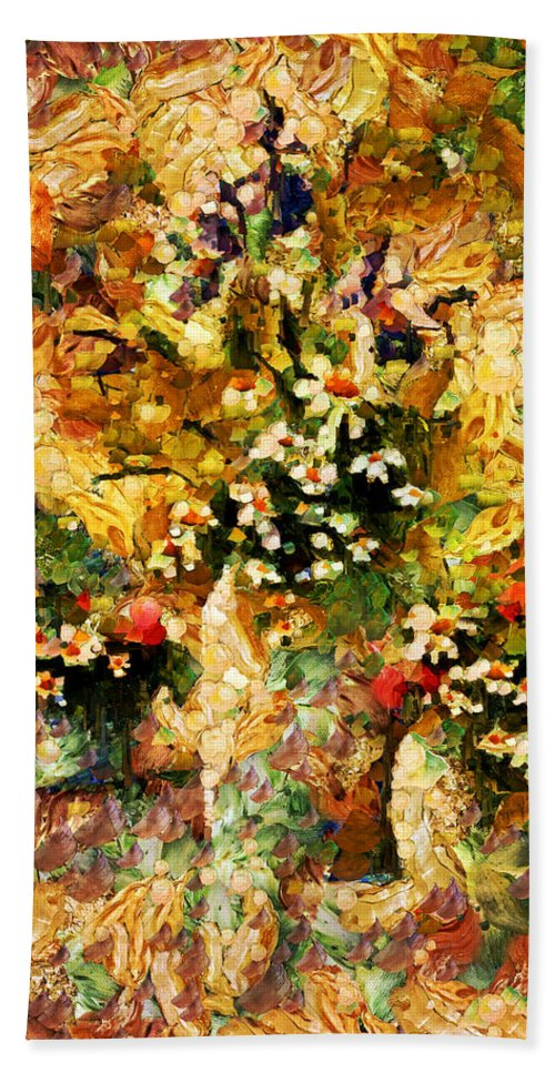 Abstract Hand Towel featuring the mixed media Autumn Bounty - Abstract Expressionism by Georgiana Romanovna
