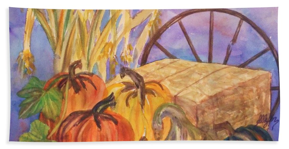Acorn Squash Bath Sheet featuring the painting Autumn Bounty by Ellen Levinson