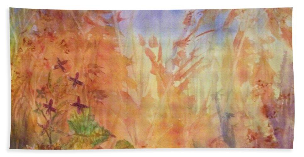 Autumn Bath Sheet featuring the painting Autumn Breeze by Ellen Levinson