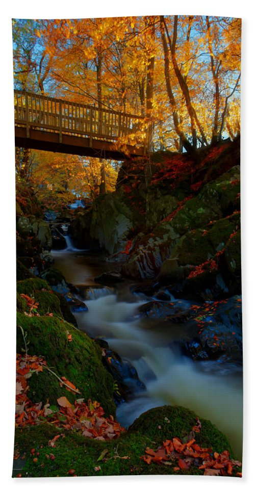 Autumn Hand Towel featuring the photograph Autumn Bridge by Beverly Cash