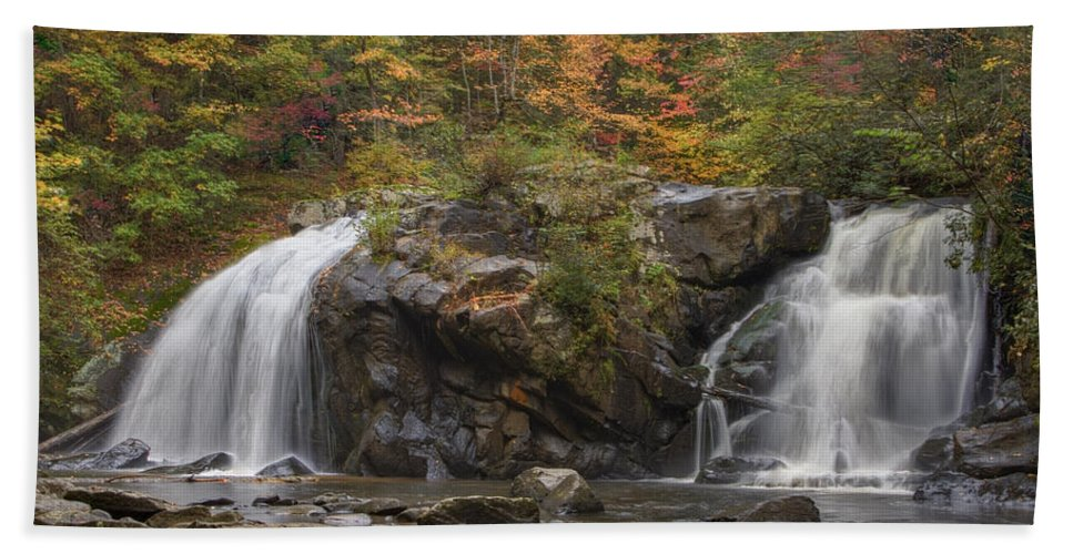Appalachia Hand Towel featuring the photograph Autumn Cascades by Debra and Dave Vanderlaan